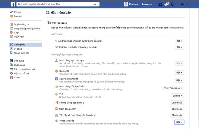 Cách tắt thông báo live stream trực tiếp trên Facebook