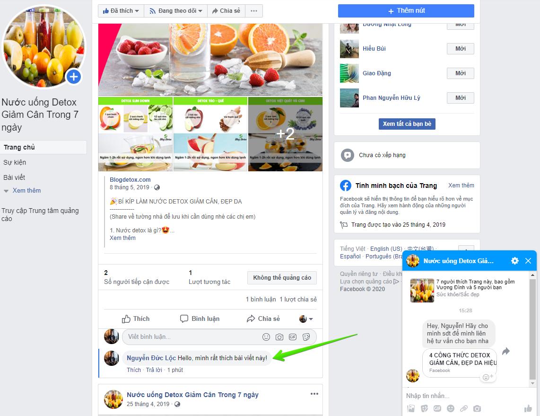 Tự động nhắn tin Facebook khi khách hàng comment (100% Inbox)
