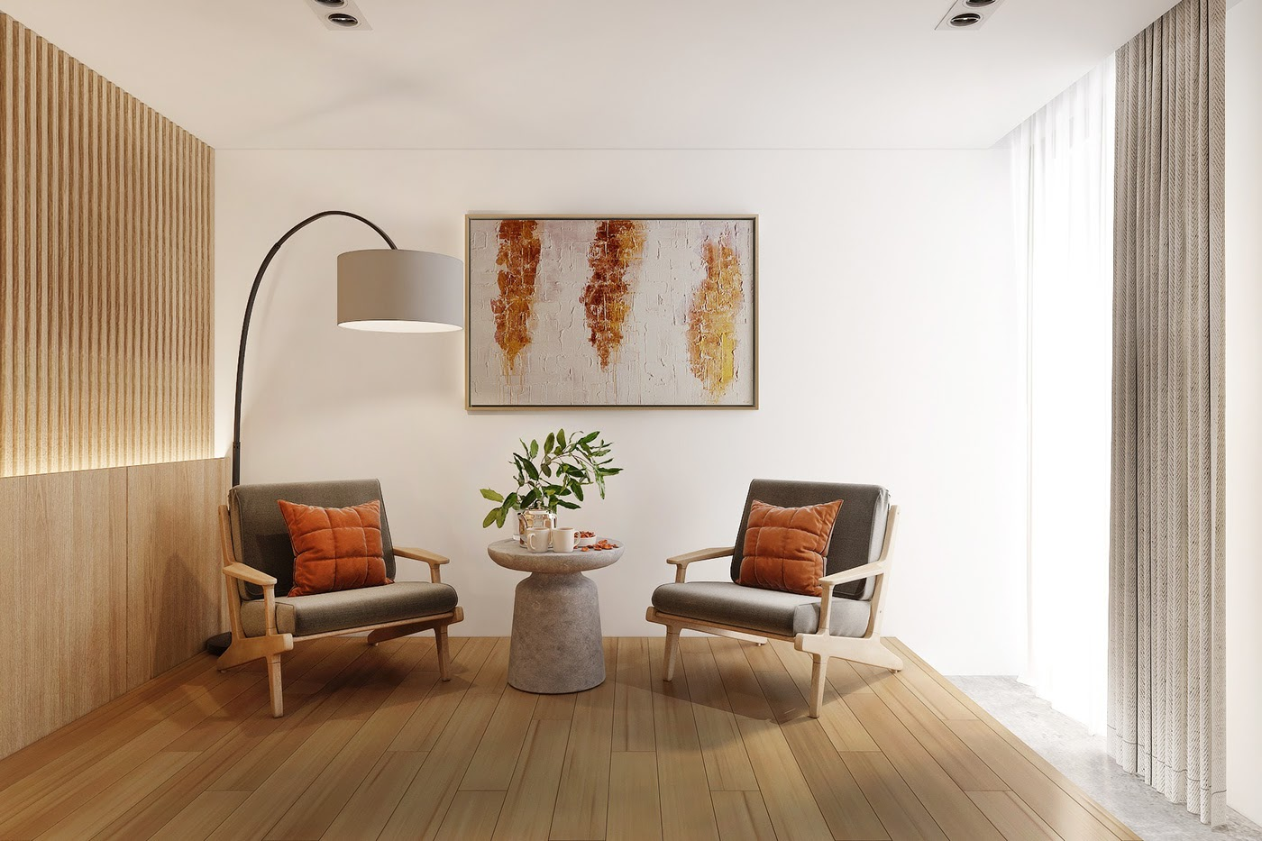 Phòng khách chung cư Nhật Bản với 2 chiếc ghế đơn giản