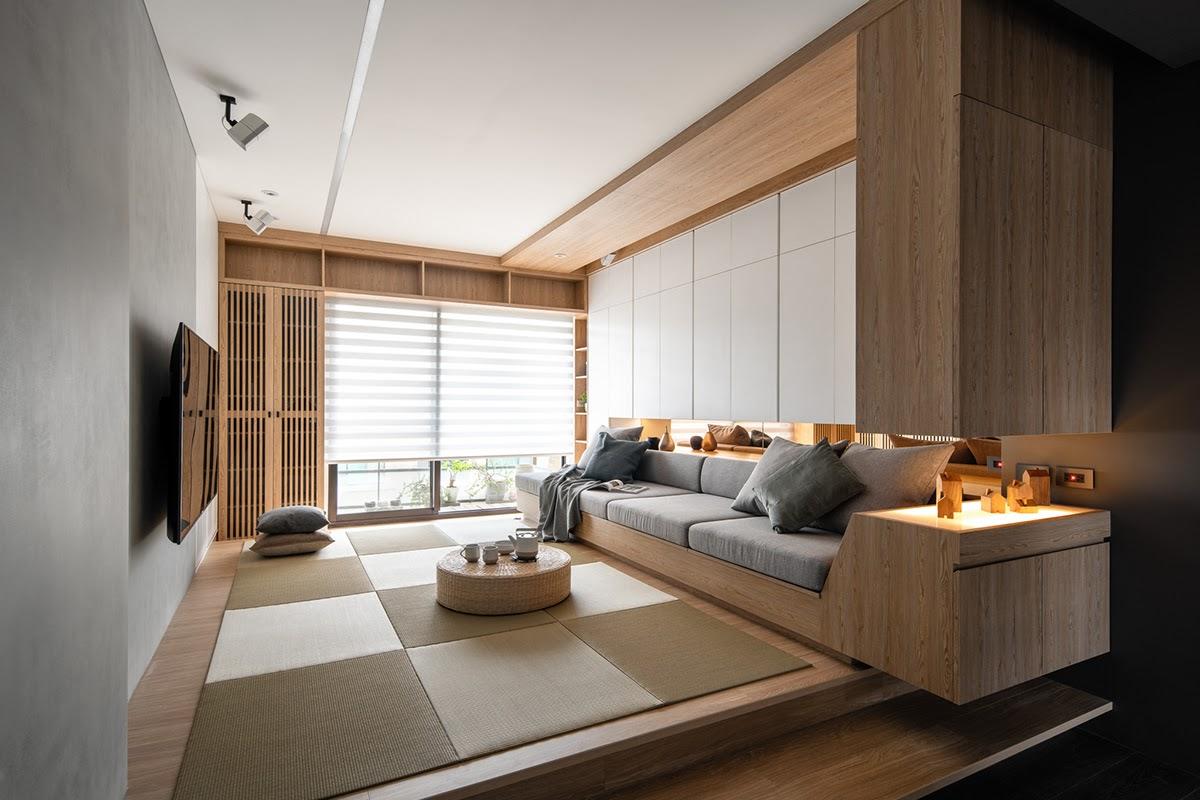 Gỗ chính là nguyên vật liệu chính trong mẫu thiết kế phòng khách này