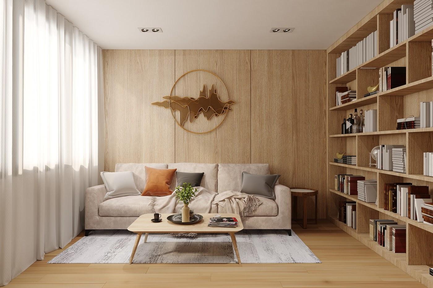 Tường sau ghế sofa được ốp gỗ đẹp mộc mạc