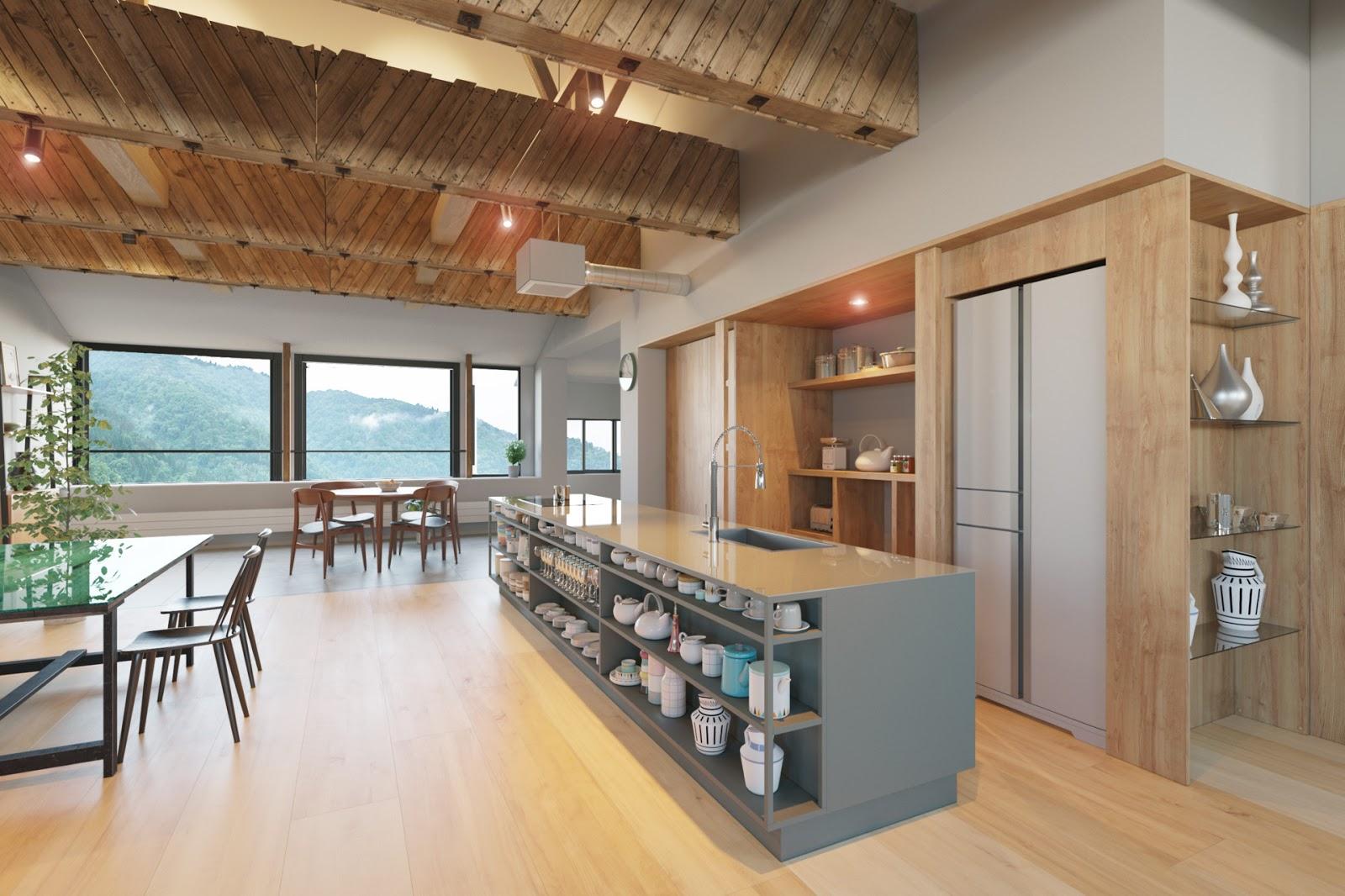 Đá và gỗ là 2 loại nguyên vật liệu chính trong phong cách này