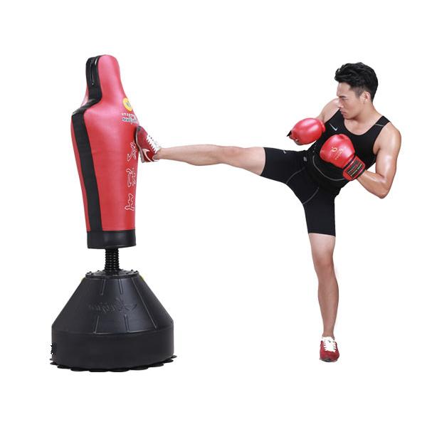 Dụng cụ boxing tập võ thuật hình nhân silicon bao trụ đấm
